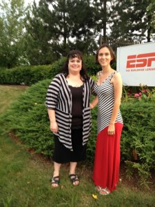 Me and Stacy at ESPN in the most-humid part of the summer.